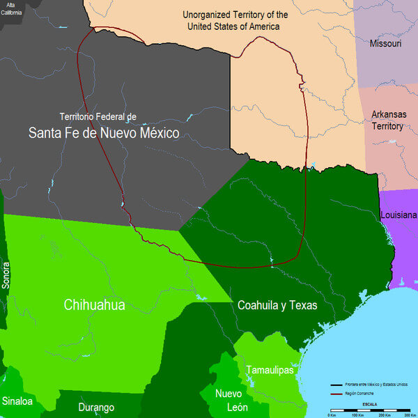 The Comanche region, Mexico, 1832. Map of Mexico's nineteenth-century shifting borderlands courtesy of Wikimedia Commons, CC0 1.0.