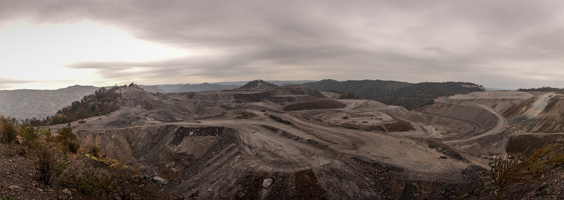 Mountaintop coal mine, Charleston, West Virginia, October 16, 2008. Photograph by Flickr user ddimick. Creative Commons license CC BY-NC 2.0. Cropped from original.