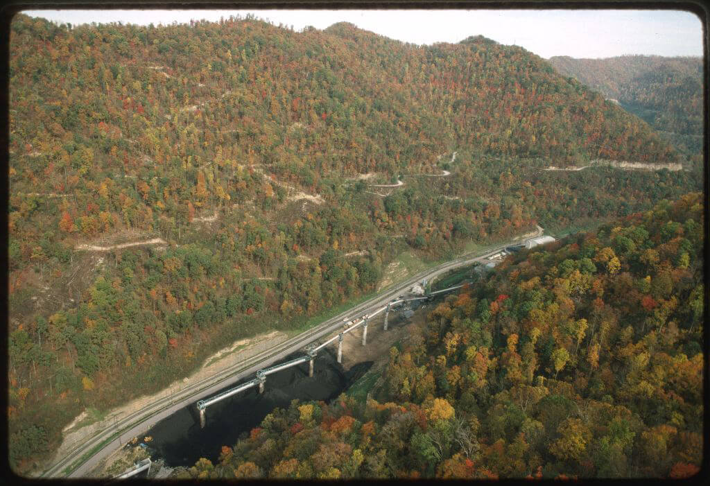 Aerial view of Coal River Valley, following Route 3, West Virginia, October 26, 1955. Photograph by Lyntha Scott Eiler. Courtesy of the Library of Congress American Folklife Center, loc.gov/item/cmns000112.