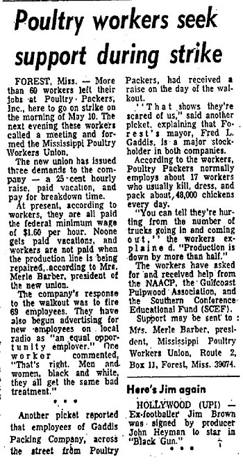 Poultry workers seek support during strike, Baltimore Afro-American, May 27, 1972. Courtesy of the Baltimore Afro-American.