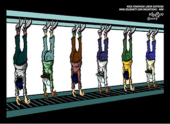Live hang, 2005. Cartoon by Mike Konopacki. Courtesy of Huck/Konopacki Labor Cartoons.
