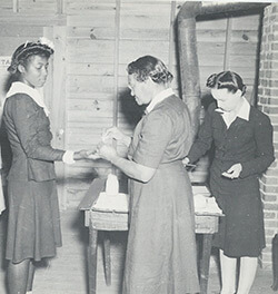 Women receive health services, Emory University Field Station on Ichuaway Plantation, ca. 1938-1945. United States Public Health Services Office of Malaria Control in War Areas, Melvin H. Goodwin papers, Manuscript, Archives and Rare Books Library, Emory University.