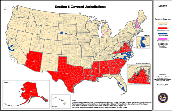 Map of Section 5 covered jurisdictions, 2008. Courtesy of the U.S. Department of Justice.
