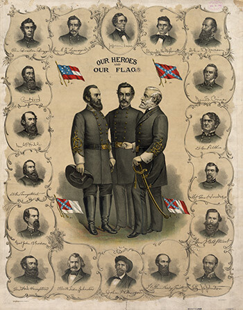 Our Heroes and Our Flag, 1896. Color lithograph by Southern Lithograph Company, showing four versions of the flag of the Confederate States of America. Library of Congress, Prints and Photographs division, LC-DIG-pga-03338.