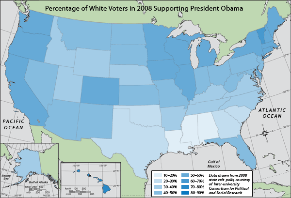 Map of percentage of white voters in 2008 supporting President Obama.