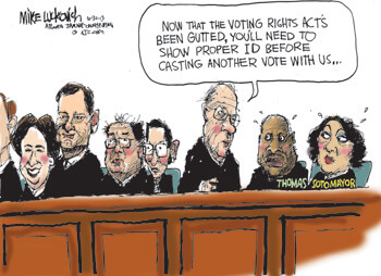 Voting Rights, June 30, 2013. Cartoon by Mike Luckovich. Republished by permission of Mike Luckovich.