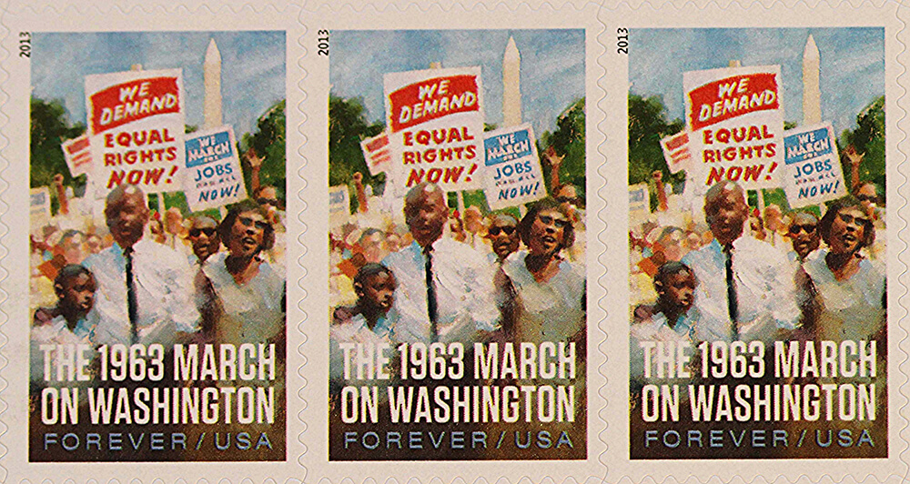USPS postage stamp commemorating the 1963 March on Washington. Photograph courtesy of Flickr user John Flannery, August 28, 2013. Creative Commons license CC BY-SA 2.0.