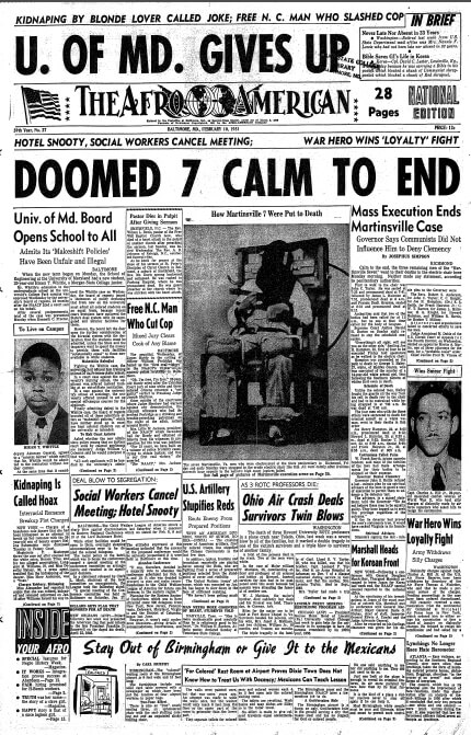 Front page of the Baltimore Afro-American, February 10, 1951. Scan courtesy of Flickr user Washington Area Spark. Creative Commons license CC BY-NC 2.0.