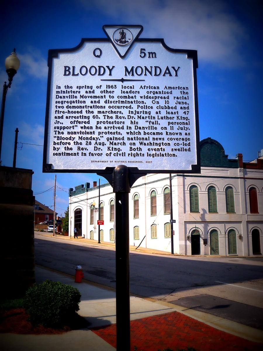 Bloody Monday historical marker, Danville, Virginia, erected 2007. Photograph courtesy of Flickr user ALongerbeam. Creative Commons license CC BY-NC 2.0.