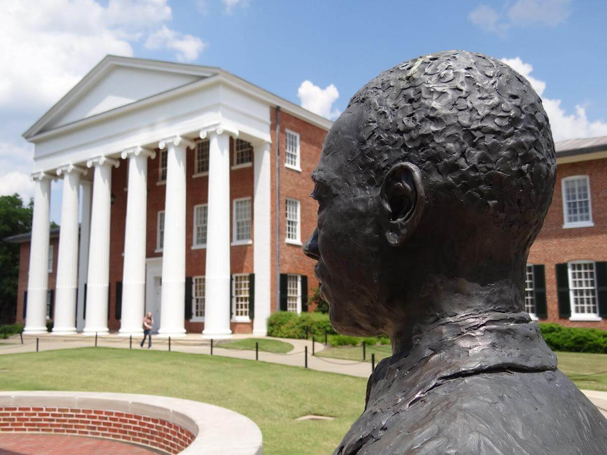 Monument to James Meredith, University of Mississippi Campus, Oxford, Mississippi, May 18, 2012. Photograph courtesy of Flickr user Adam Jones. Creative Commons license CC BY-SA 2.0.