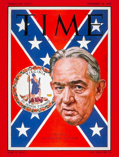 Virginia's Governor Almond, cover of TIME magazine, September 22, 1958.