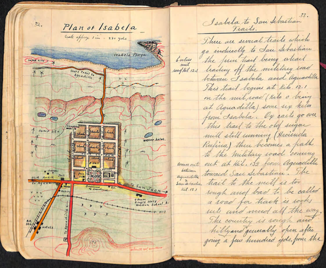 """Plan of Isabela,"" illustrated town map from Armstrong's notebooks. Image courtesy of Lanny Thompson, 2017."