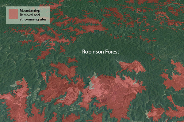 "Map showing Robinson Forest and surrounding sites of mountaintop removal and strip-mining, Robinson Forest, Kentucky, 2012. Map by Southern Spaces, created with Google Earth mountaintop removal ""Extent of Mining Survey"" layer courtesy of iLoveMountains.org."