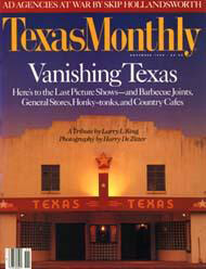 Vanishing Texas, Texas Monthly, November 1990. Cover.