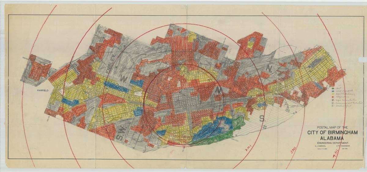 "Postal Map of the City of Birmingham, Alabama, showing racial zoning. Most of the city is colored gray. Other colors, in order of prominence, are red, yellow, and blue, with very few green areas. Legend: Green: ""Best"";  Blue: ""Still Desirable""; Yellow - ""Definitely Declining""; Red: ""Hazardous""; Grey: ""Negro Concentrations""; Crosshatched Lines: ""Commercial and Industrial""; Diagonal Lines: ""Undeveloped""."
