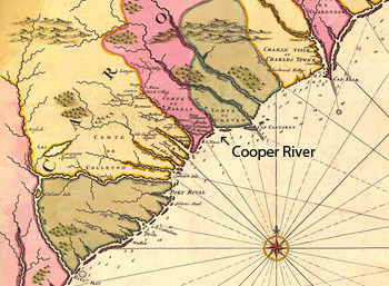 General Map of the Carolinas with location of the Cooper River indicated, Amsterdam, 1683. Map by Nicolas Sanson. Courtesy of the Birmingham Public Library Cartography Collection, SouthCarolina1683a.sid.