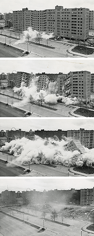 Pruitt-Igoe demolition, April 22, 1972. US Department of Housing and Urban Development. Courtesy of Wikimedia Commons.