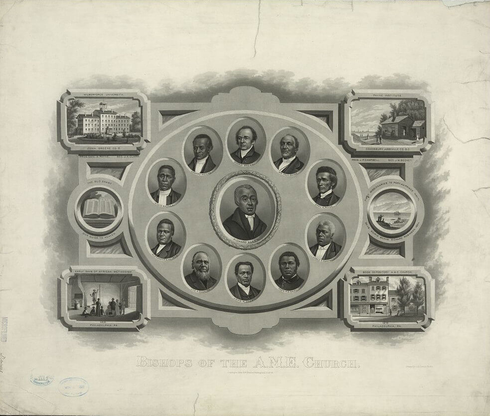 A lithograph of Richard Allen and other bishops of the African Methodist Episcopal Church, showing a circle of miniature oval vignette portraits, a larger oval portrait of Richard Allen in the center, and church buildings in each corner.