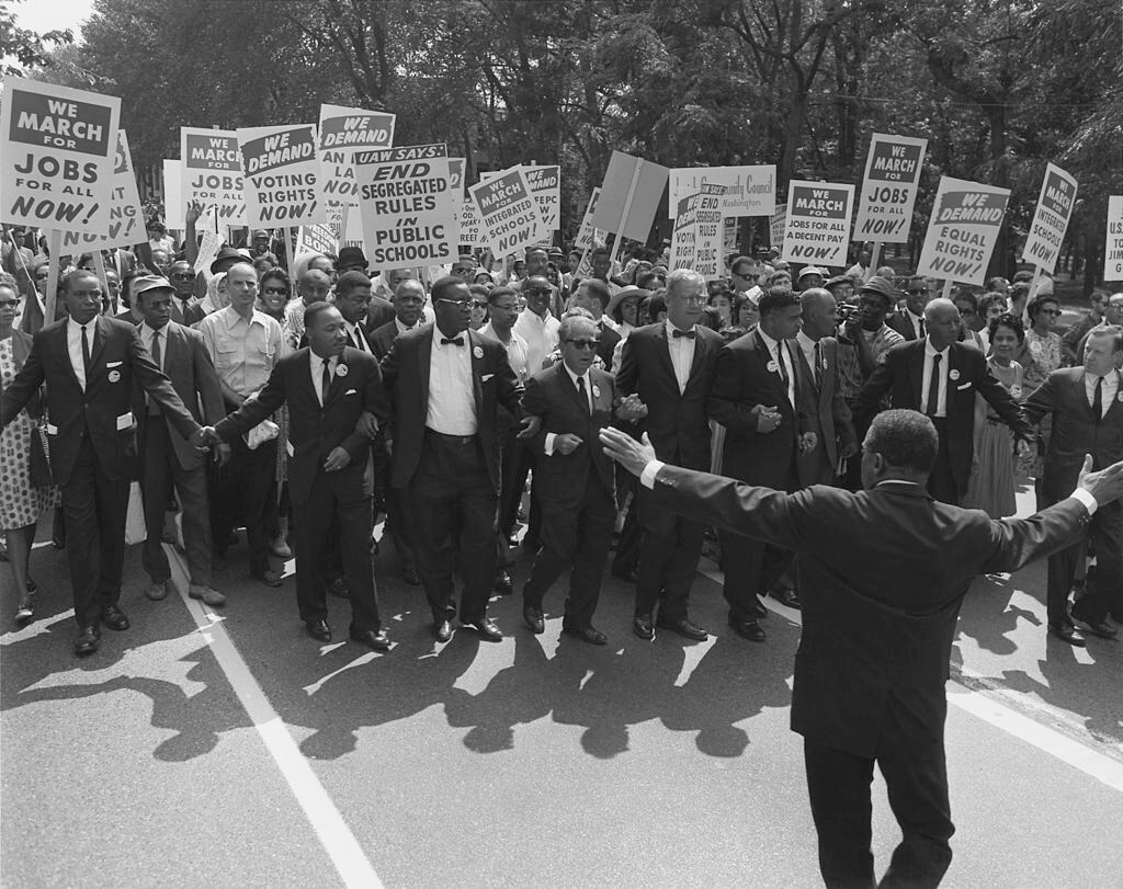 Jewish civil rights activist Joseph L. Rauh, Jr. marching with Martin Luther King, Jr., Washington, DC, August 28, 1963. Photograph by the now defunct United States Information Agency. Courtesy of the National Archives and Records Administration, National Archives Identifier 542002. Photograph in public domain.