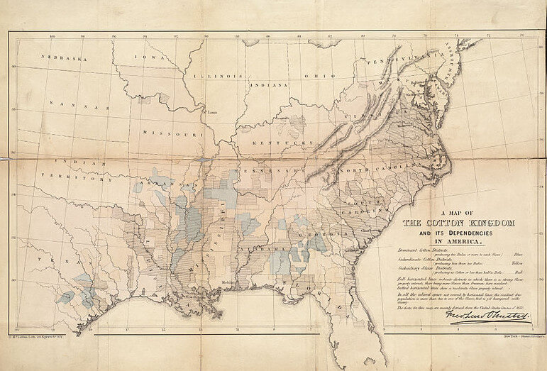 "An 1861 illustrated map titled, ""The Cotton Kingdom and its dependencies in America,"" showing a map of America with the southern United States colored in blue, yellow, and red."
