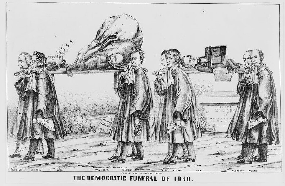 "Lithograph titled ""the democratic funeral of 1848. ""Foreseeing political death for the Democrats in the election, the artist imagines a funeral of the party's standard-bearers with a procession of the faithful"" (description courtesy of LOC)."