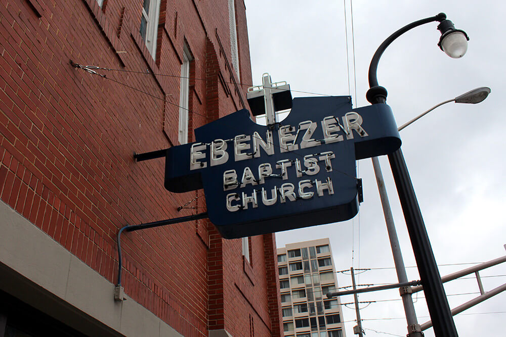 Ebenezer Baptist Church sign, Atlanta, Georgia, May 6, 2013. Photograph of this historic MLK site by Flickr user Wally Gobetz. Creative Commons license CC BY-NC-ND 2.0.