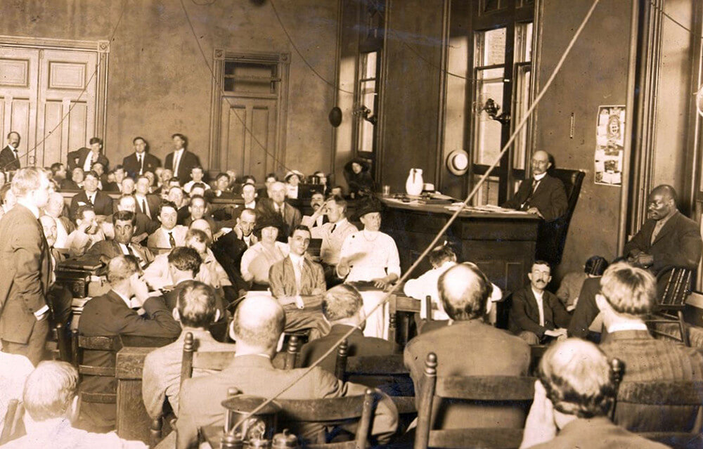 The trial of Leo Frank, Atlanta, Georgia, July 28, 1913. Photograph by Walter Frank Winn. Originally published in the Atlanta Journal, July 29, 1913. Photograph in public domain. Courtesy of Wikimedia Commons.
