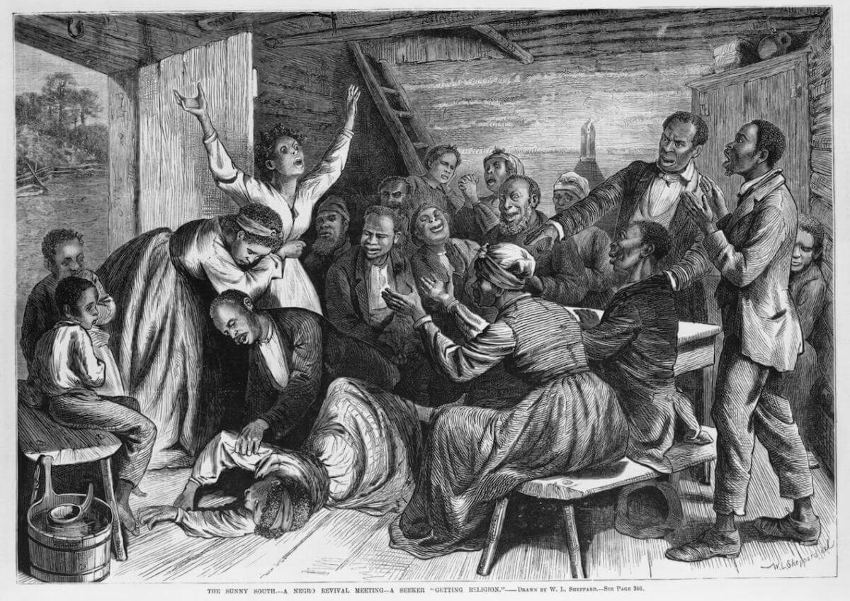 "A wood engraving titled, ""The Sunny South, a negro revival meeting, a seeker 'getting religion,'"" depicting ""Woman lying on floor, surrounded by other people, in a revival meeting"" (description courtesy of LOC)."