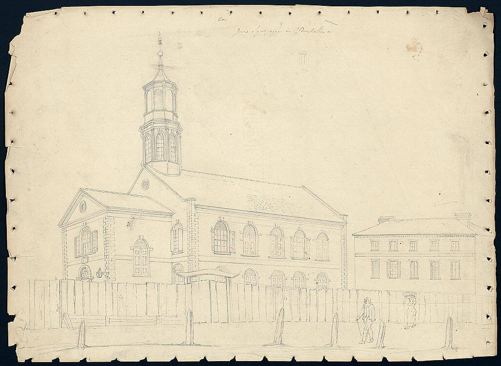 Scan of a graphite drawing of a synagogue.
