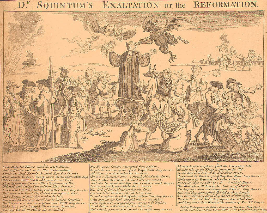 "Cartoon engraving depicting Reverend George Whitefield preaching and a devil figure with a syringe to Whitefield's ear, titled, ""Dr. Squintum's exaltation or the reformation."""