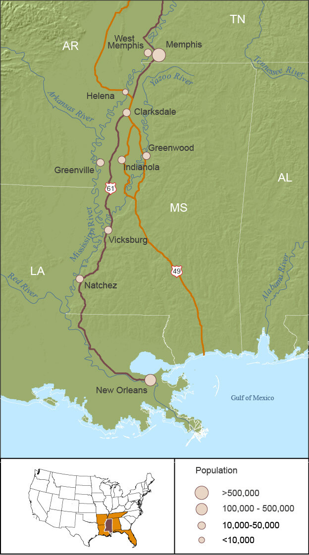 Mississippi Delta region. Map by Stacey Martin, 2006.
