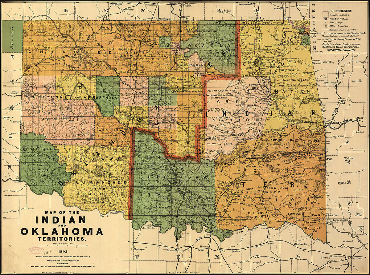 Map of the Indian and Oklahoma Territories, 1892. Map by Rand McNally and Company. Courtesy of the Library of Congress Geography and Map Division, loc.gov/resource/g4021e.ct000224.