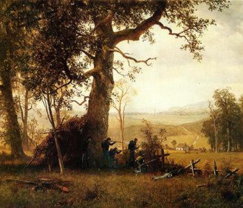 Guerilla Warfare. Picket Duty in Virginia, 1862. Oil on canvas by Albert Bierstadt. Courtesy of WikiPaintings.org.