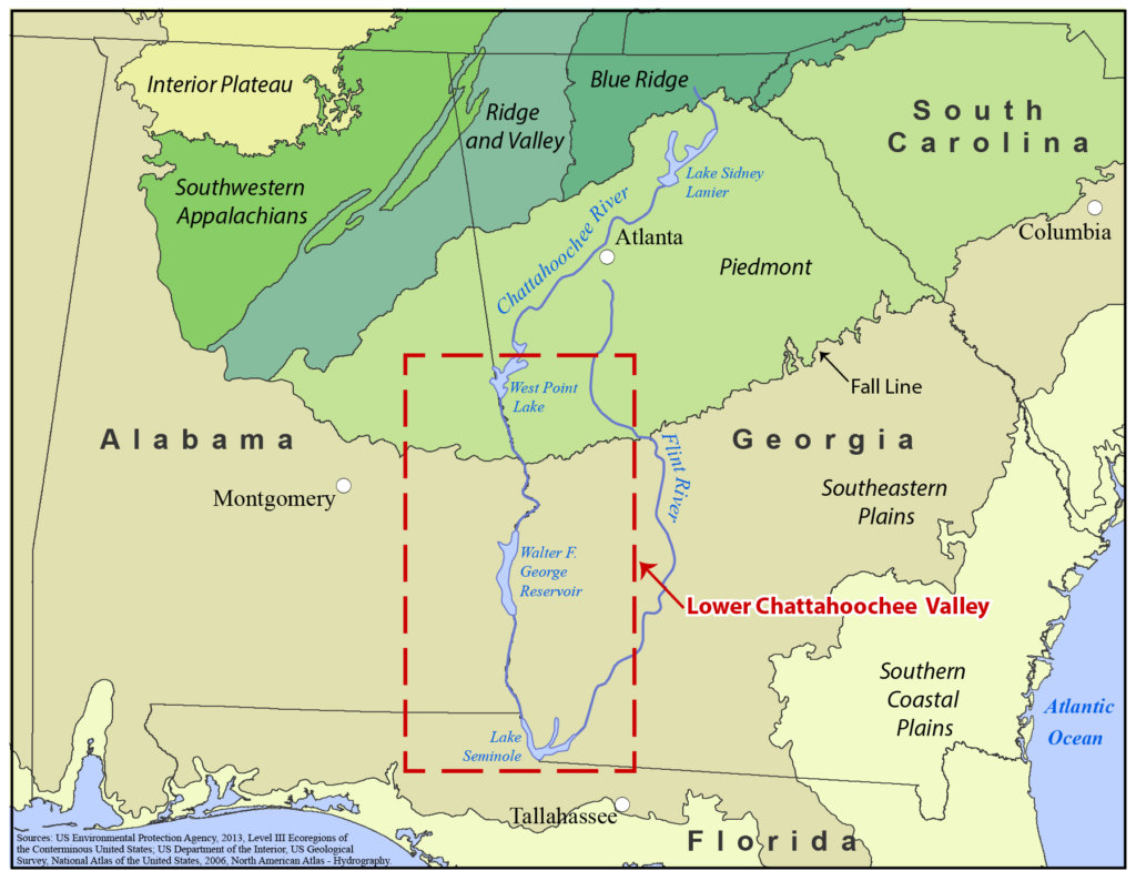 Map showing Alabama and Georgia, with a box showing the Lower Chattahoochee Valley, situated along the southern half of the Georgia-Alabama border.
