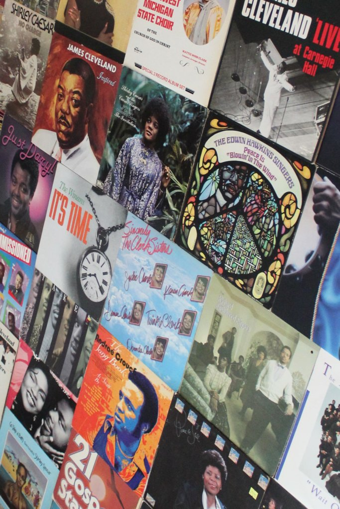 Photograph of colorful vinyl record covers of albums discussed in the book When Sunday Comes.