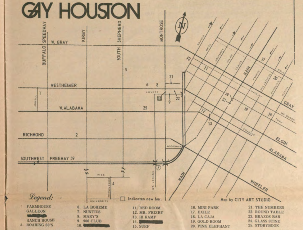 "Scan of magazine showing a street map with the title ""GAY HOUSTON."" Clubs are indicated on the map."
