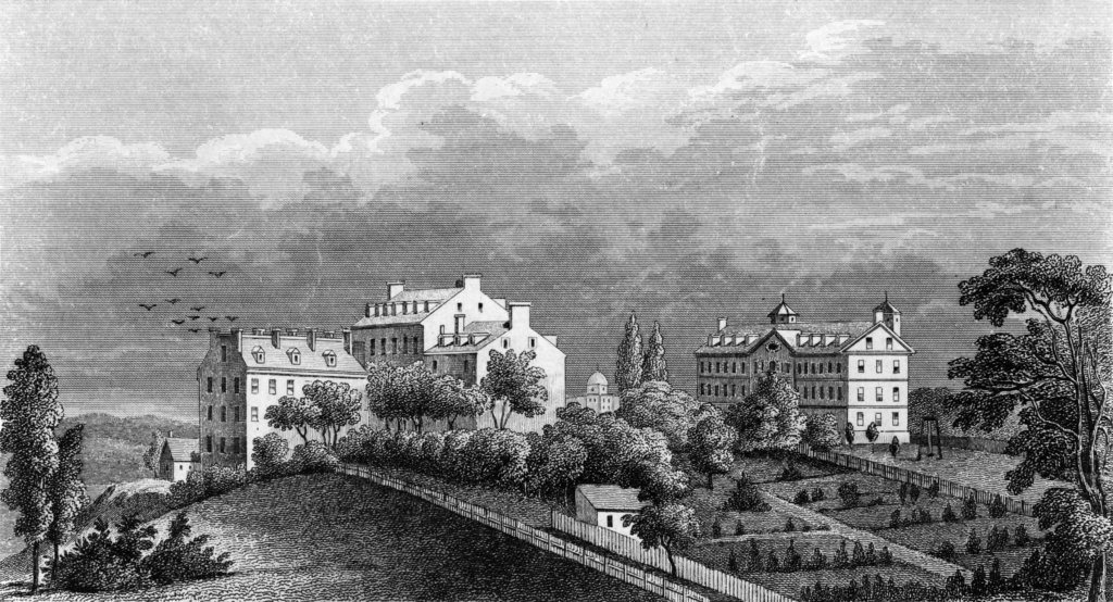 Black and white engraving of Georgetown College in 1800.